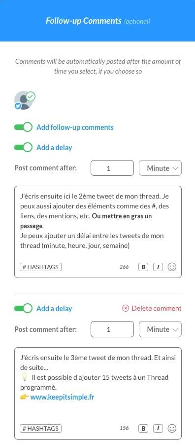 Aperçu des tweets d'un thread réalisé sur Publer.io