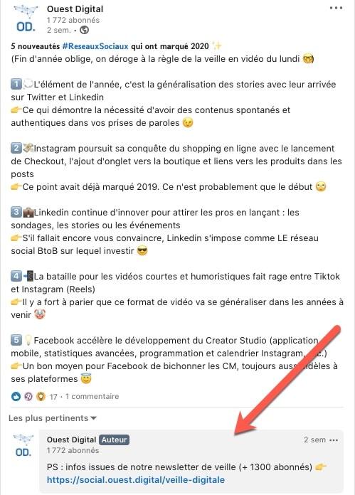 Exemple d'une publication Linkedin avec un lien en commentaire