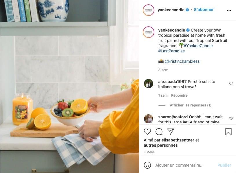 Exemple d'une photo de type lifestyle, réalisée par la marque Yankee Candle sur Instagram