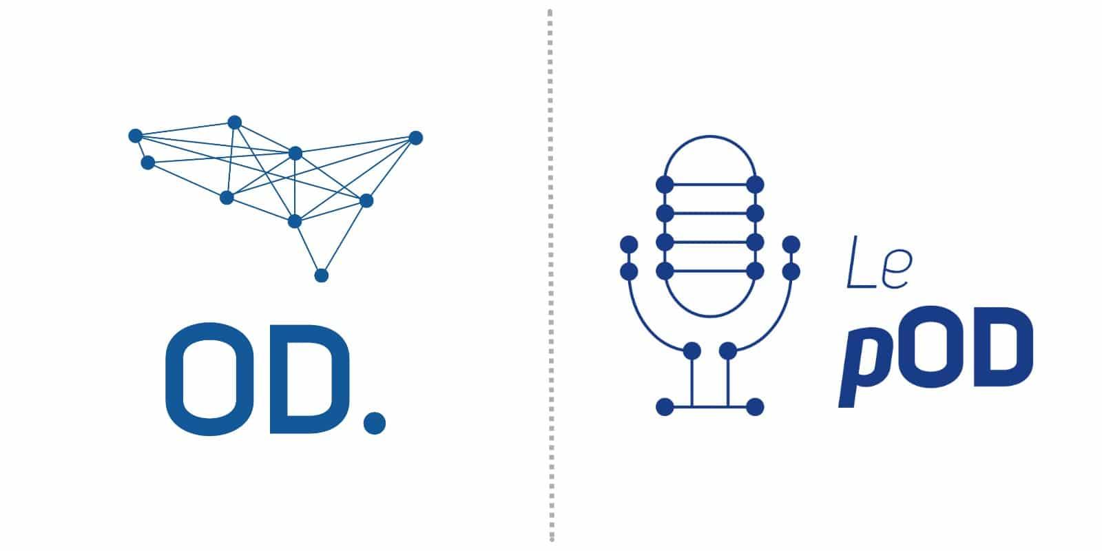 Comparaison du logo de Ouest Digital et du logo du podcast « le pOD » édité par Ouest Digital