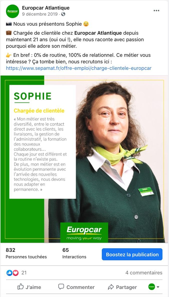 Exemple d'une marque en BtoC qui valorise son équipe sur les réseaux sociaux (Europcar Atlantique)