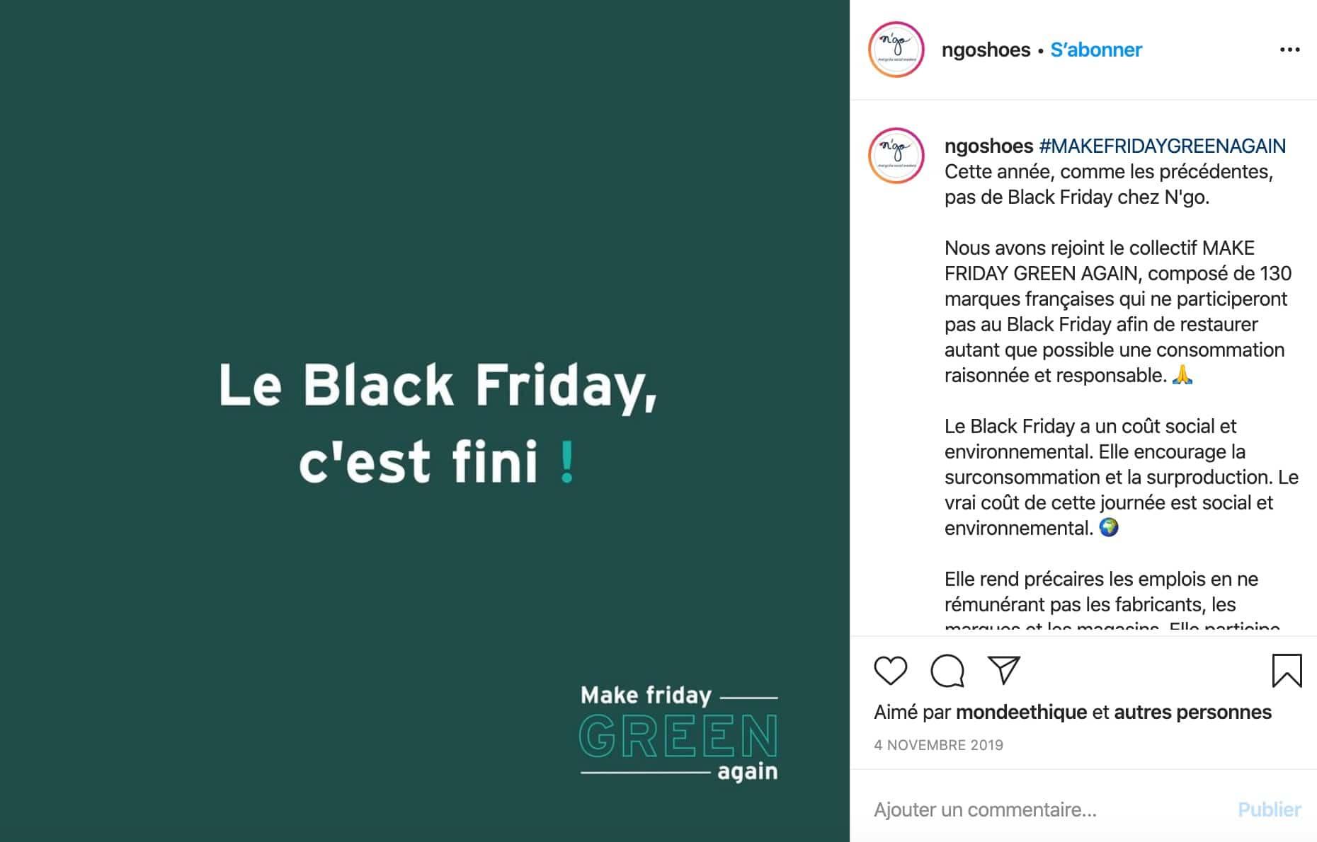Exemple d'une marque qui affirme ses valeurs sur les réseaux sociaux (N'go Nantes à propos du black friday)
