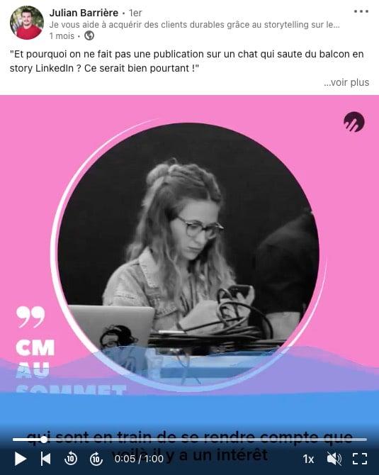 Exemple de publication au format audiogramme sur les réseaux sociaux pour partager un épisode de podcast (CM au Sommet)