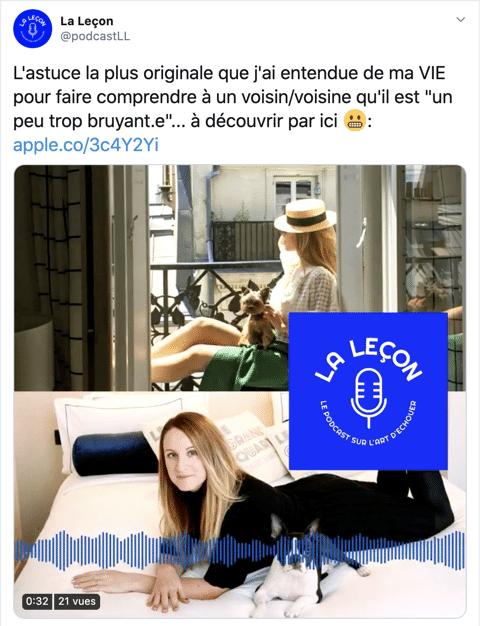 Exemple de tonalité amicale pour communiquer sur un podcast (La leçon)