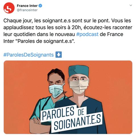 Exemple de tonalité informative pour communiquer sur un podcast (France Inter)