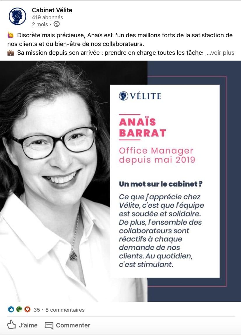 Exemple d'une marque en BtoB qui valorise son équipe sur les réseaux sociaux (Vélite Paris)
