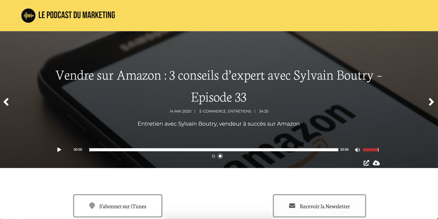 Page d'accueil du site « Le Podcast du Marketing »