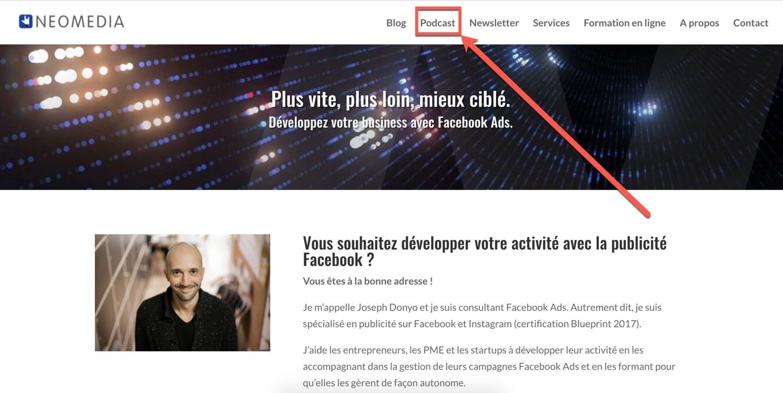 Page d'accueil du site Neomedia, qui édite le podcast « No Pay, No Play »