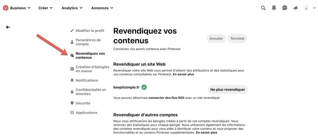 Capture d'écran qui explique comment revendiquer son site web sur Pinterest