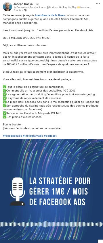 Exemple d'audiogramme publié sur Linkedin