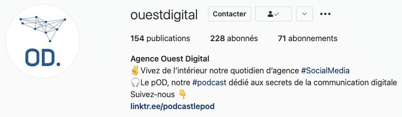 Capture d'écran montrant Intégrer le lien vers son podcast sur Instagram