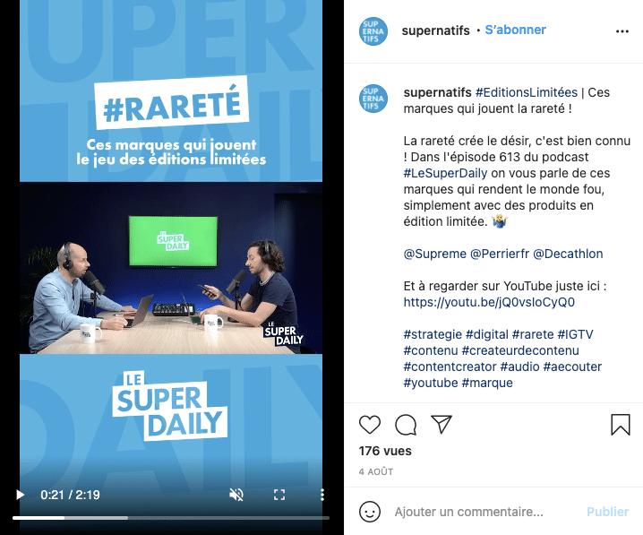 Exemple de diffusion de podcast en live sur Instagram