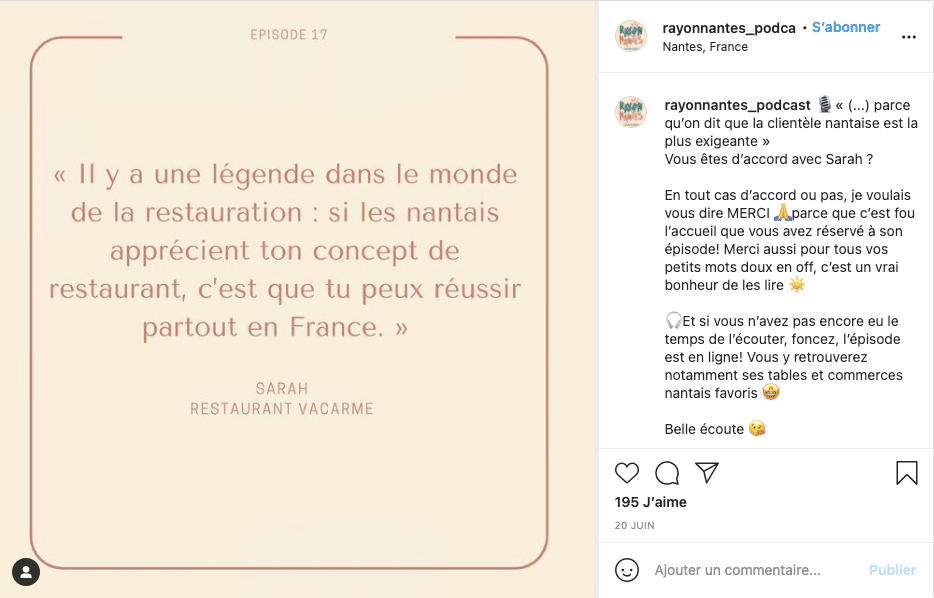 Exemple de publication Verbatim sur Instagram